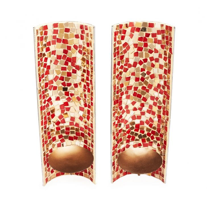 Ahana Vertical Mosaic Window Sconnes  Red,Candle Holders