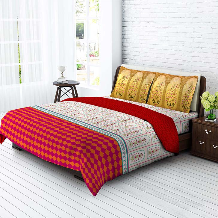 Tangerine Desi Beats Jharokha California King Bed Sheet Set White And  Red,Double Bed Sheets