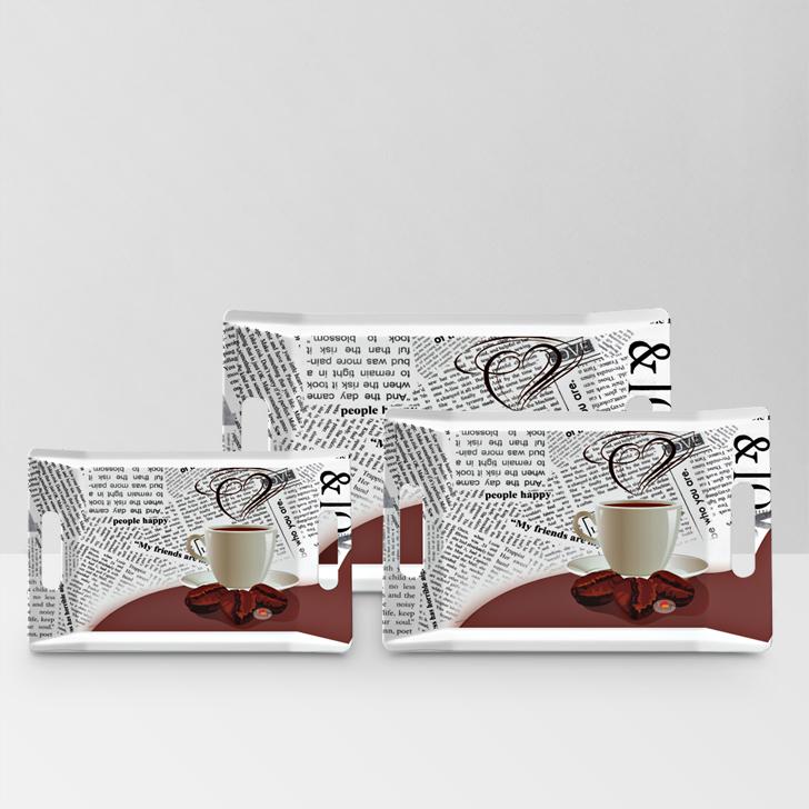 Servewell Coffee News Trendy Tray 3 Pcs,Trays
