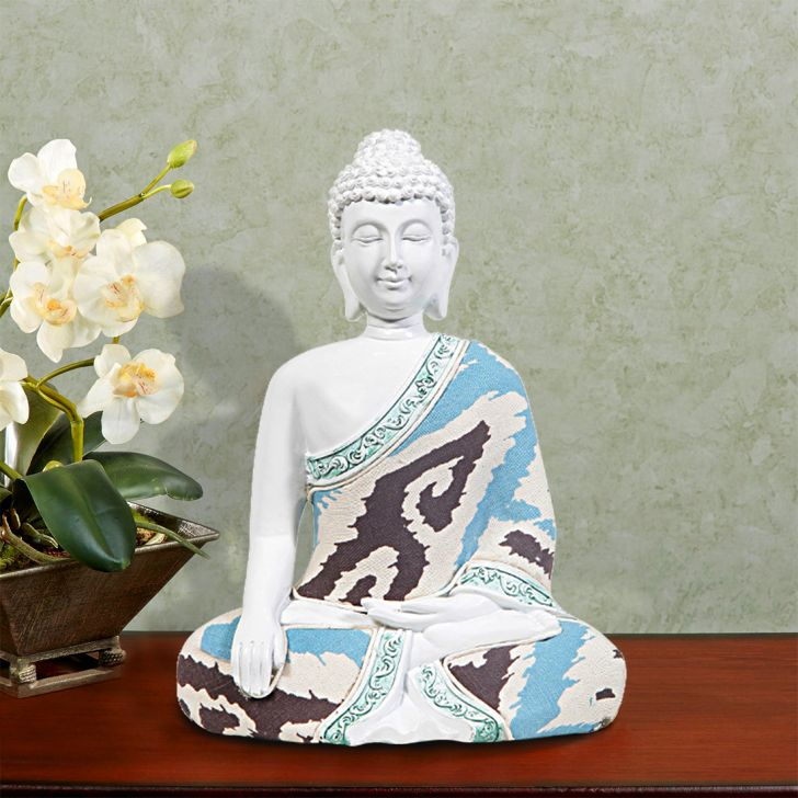 HomeTown Zen 14FQ085 Polyresin Buddha White,Figurines