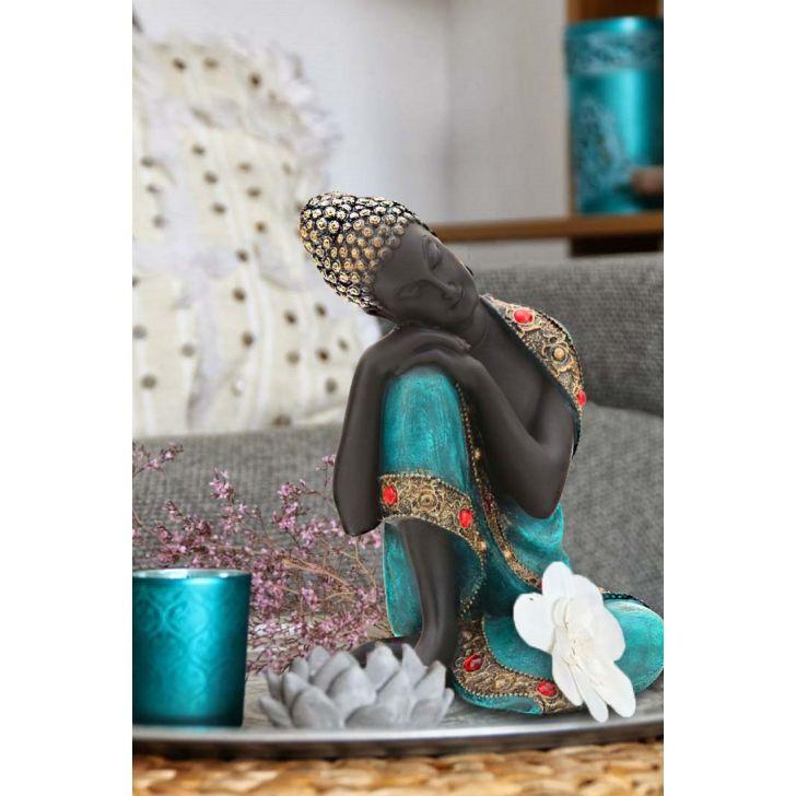 Pristine Sitting Buddha Blue,Figurines