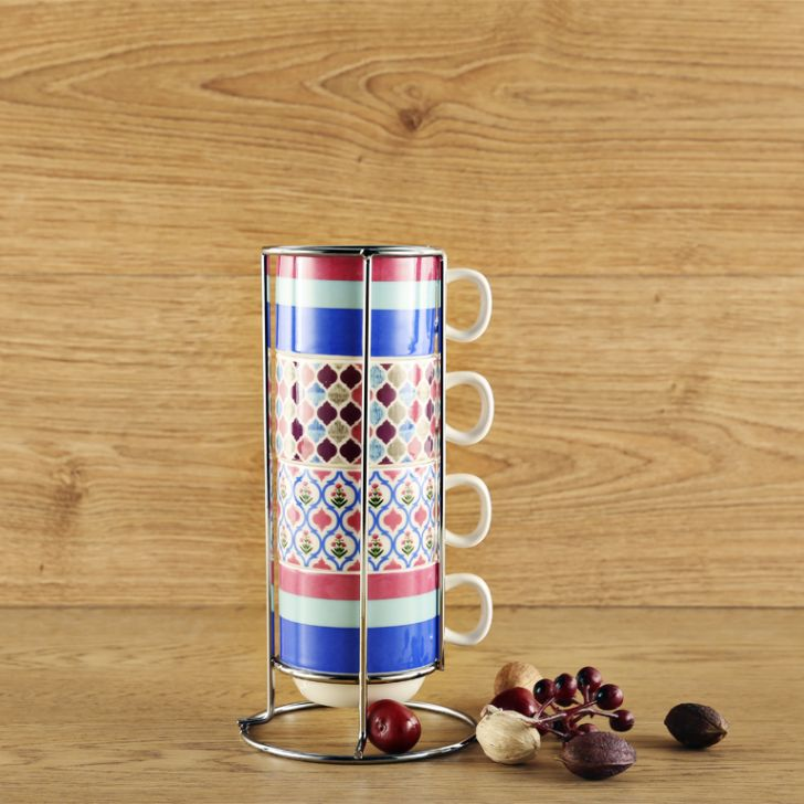 Living Essence Vibrance Set Of 4 Mugs With Stand,Coffee Mugs