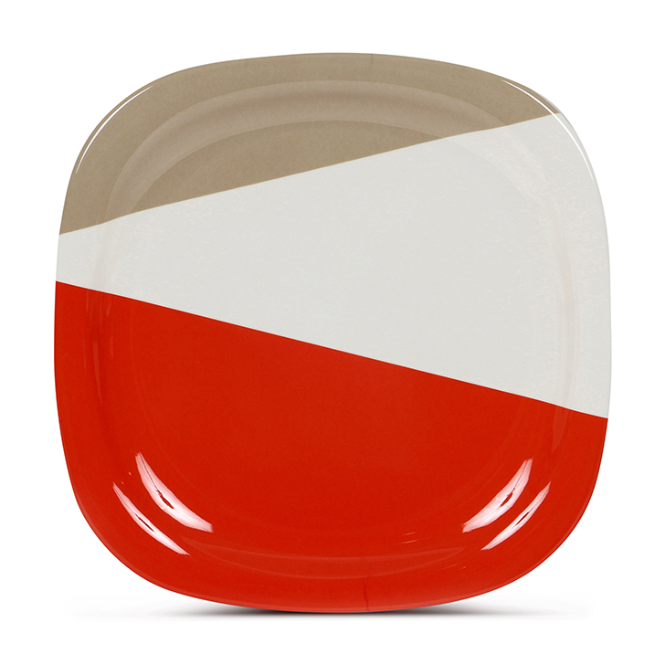 Living Essence Melamine Dinner Plate Red And White,Plates