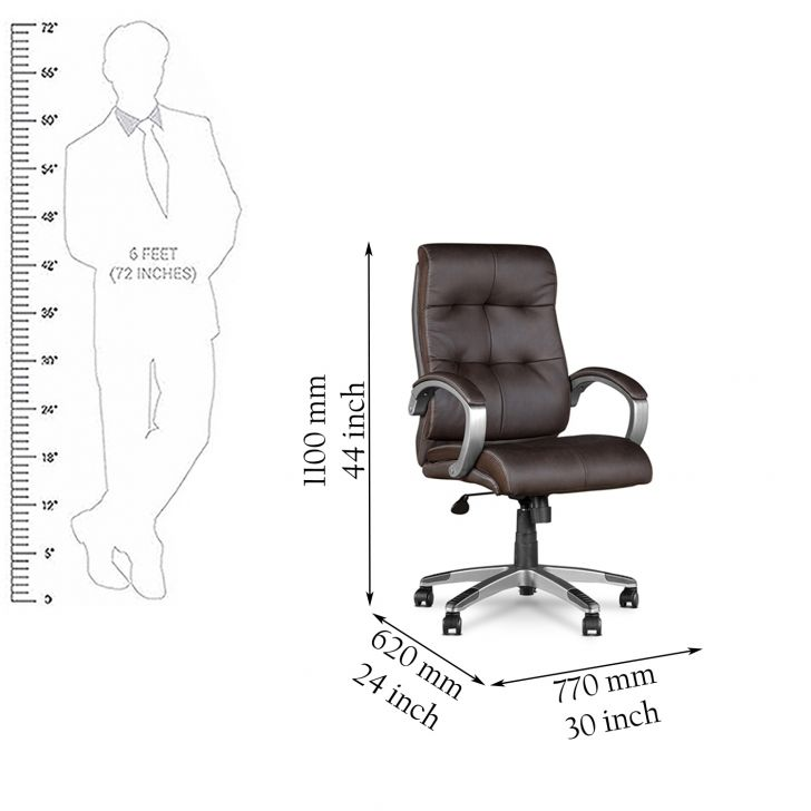 Hugo High Back Office Chair Brown,Chairs
