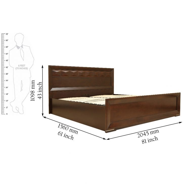 Amelia Queen Size bed in rubber wood with Hydraulic Storage,Beds