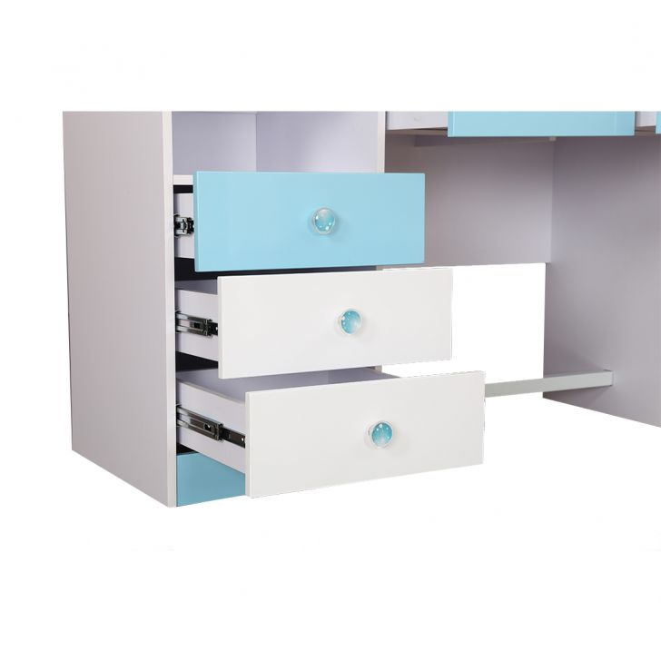 Castle Study Table in Glossy White & Blue Finish,Furniture