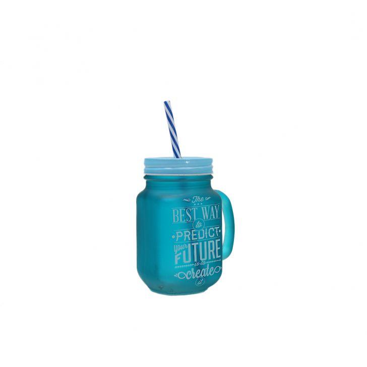 Quoted Mason Jars Set Of Two Blue &Orange,Mason Jars