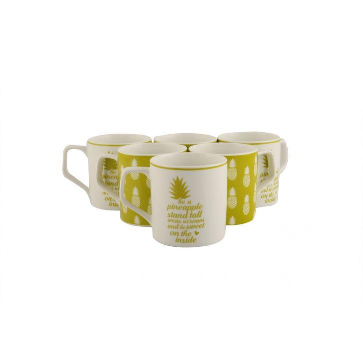 Pinacolada Set Of 6 Tea Mugs,Cups & Saucers