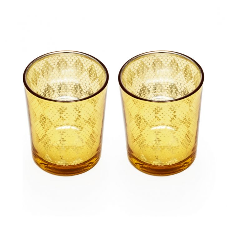 Zahara Set of 2 Geo Tesellation Cup Assorted,Candle Holders