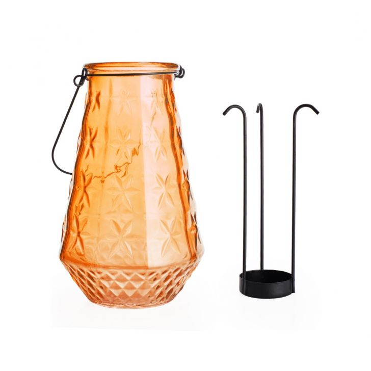 Ezra Star Embellished Candle Holder Orange,Candle Holders