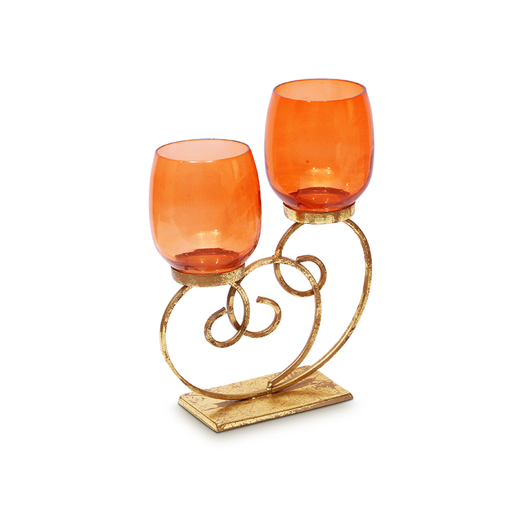 HomeTown Bling Scroll Iron And Glass 2 Votive Candle Holder Copper And Gold,Candle Holders