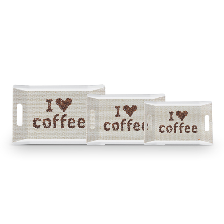 Servewell I Love Coffee Trendy Tray Set 3 Pcs,Trays