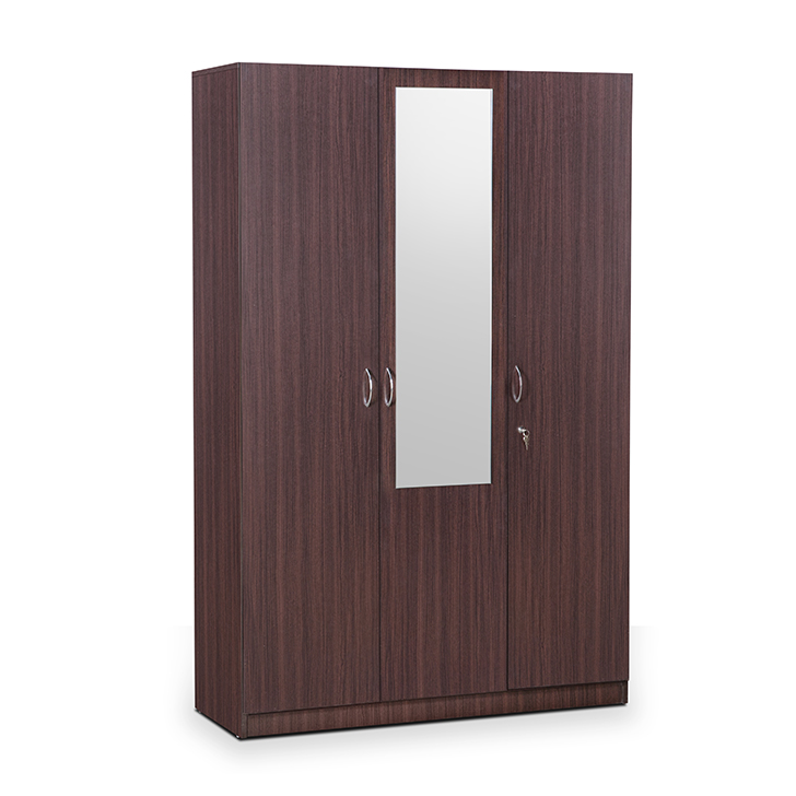 Allen Three Door Wardrobe With Mirror in Walnut Finish,Festive Bonanza Offer