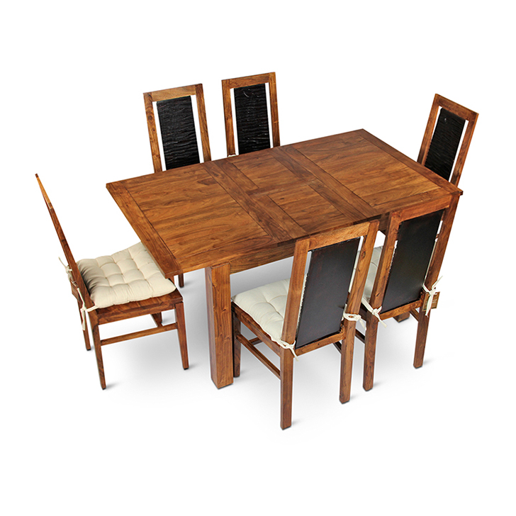 Leopold Folding Six Seater Dining Set in Walnut & Black Colour,6 Seater Dining Table