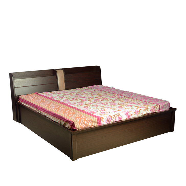 Magna King Size Bed with Hydraulic Storage in Walnut Finish,Hydraulic Beds