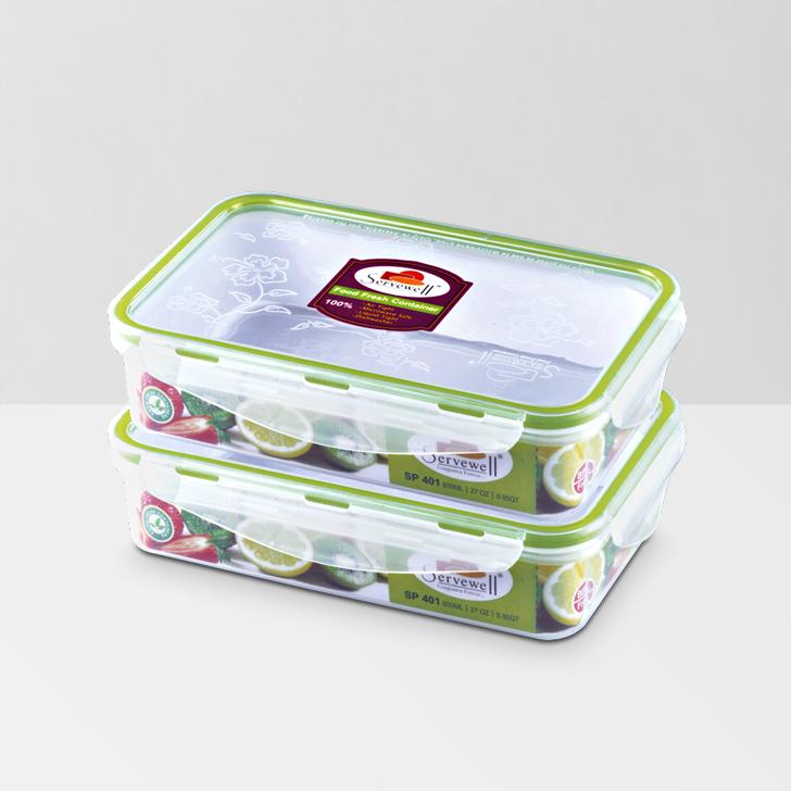 Servewell Rectangle Food Fresh Container 800 ml 2 Pcs,Lock Storage