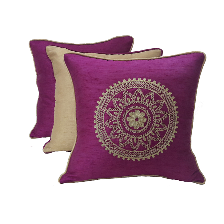 Living Essence Set Of Three Cushion Cover 16X16 Fiesta Magenta Gold,Covers & Inserts