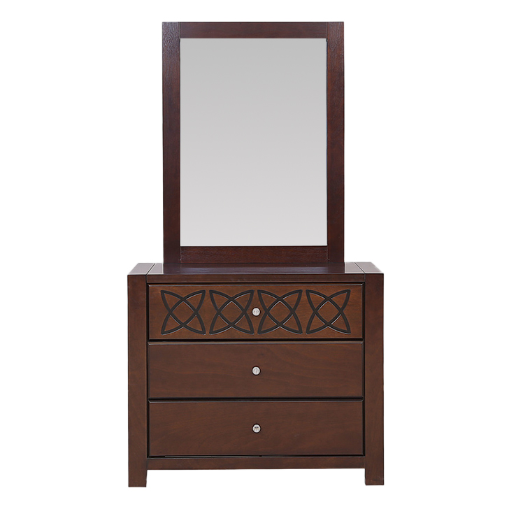 Astra Solidwood Dresser with Mirror in Wenge Colour,Bedside Tables
