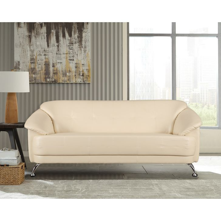 Corinth Letherette Three Seater Sofa Ivory,Furniture