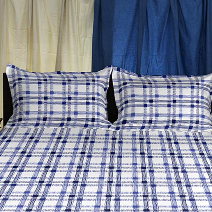 Spaces Cotton Navy Blue Double Bed Sheet Set,Double Bed Sheets