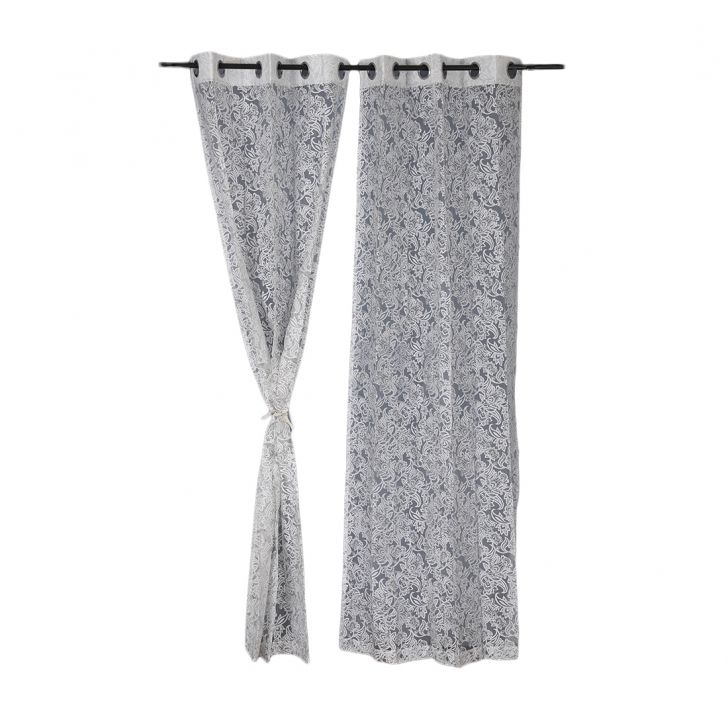 Amour sheer Door Curtain Silver Set of 2,Door Curtains