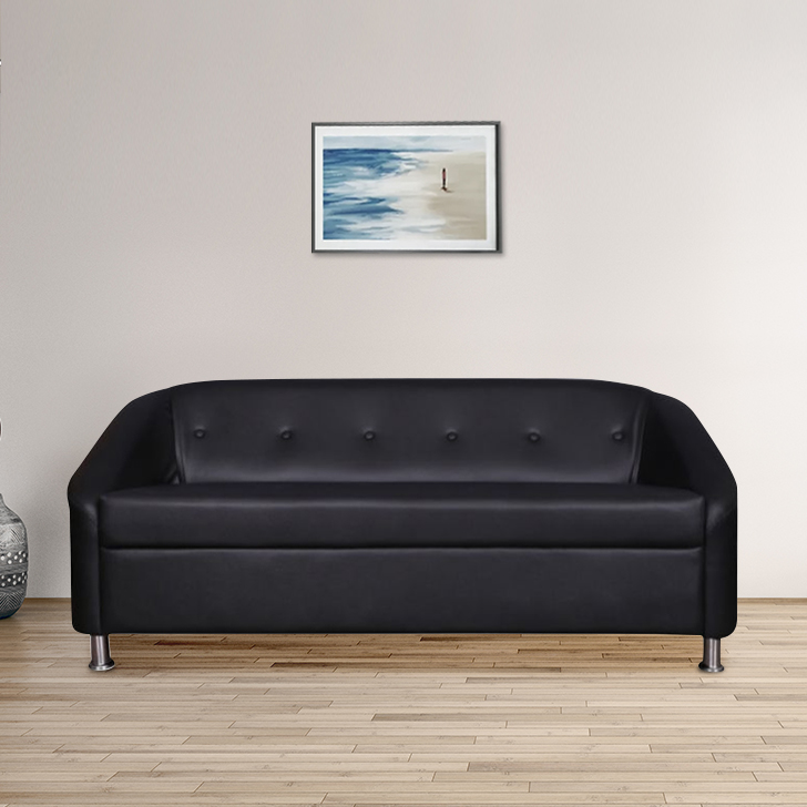 Belfast Leatherette Three Seater Sofa Black,Furniture