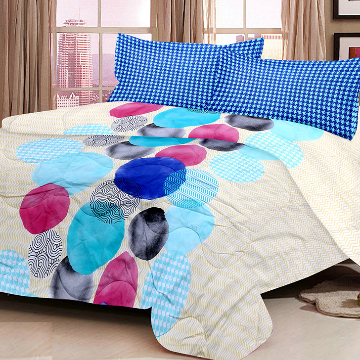 Eden Geometrical Cotton Bed In A Bag Blue,Double Bed Sheets