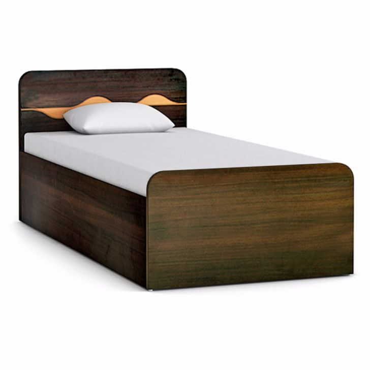 Buy swirl single bed in engineered wood with box storage for Wooden box bed image