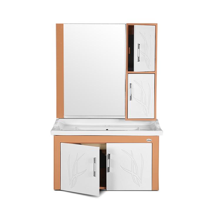 Essence PVC And Ceramic Vanity White And Light Brown,PVC Vanity