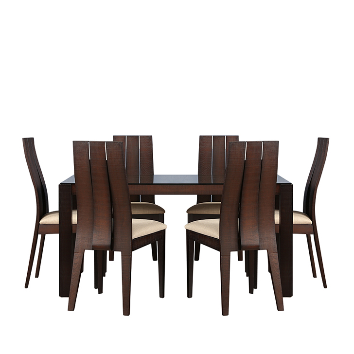 Carlton Glass Top 6 Seater Dining Table,6 Seater Dining Table