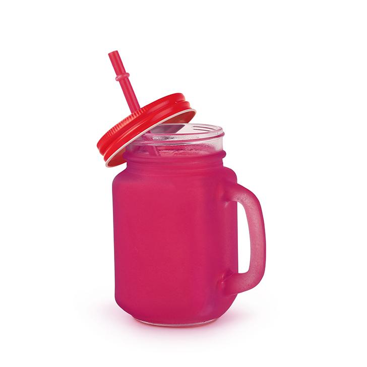 Living Essence Frosted Mason Glass Jar Pink 450 ml,Mason Jars