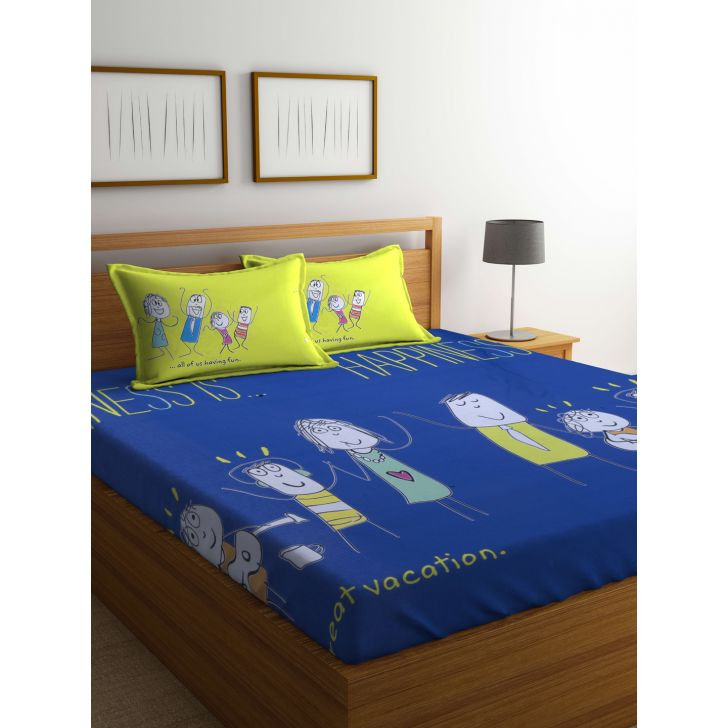 Portico Happiness Is Bedsheet Multicolour,Double Bed Sheets