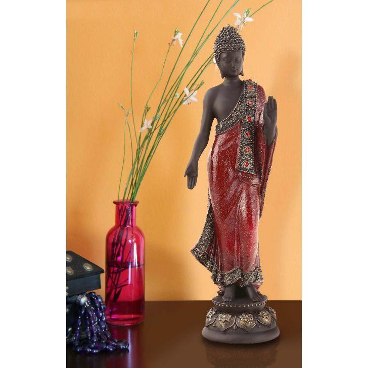 Pristine Standing Buddha Red,Figurines