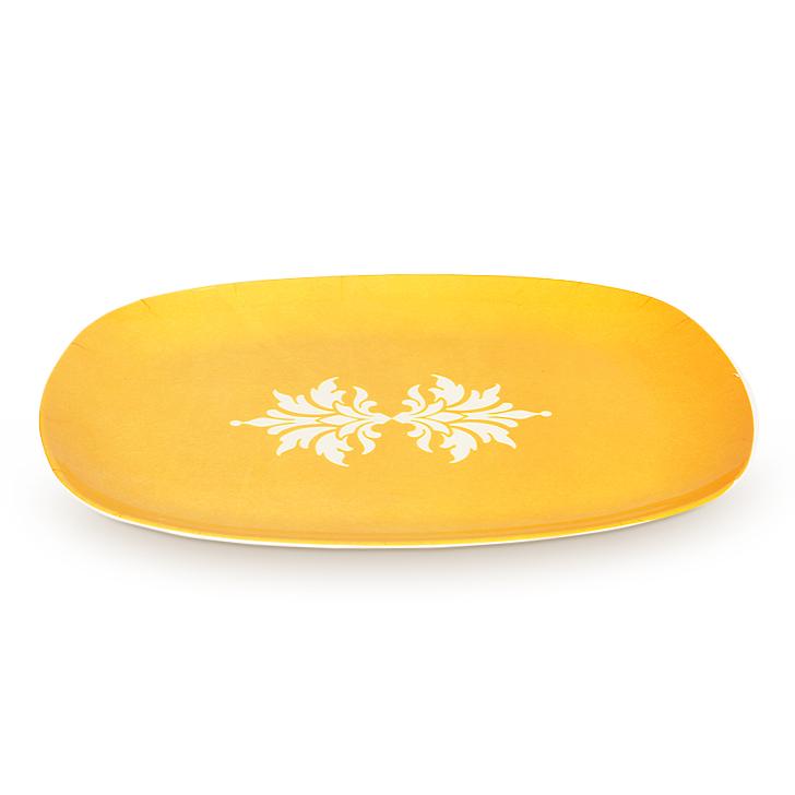 Living Essence White Melamine Floral Bloom Serving Platter,Plates