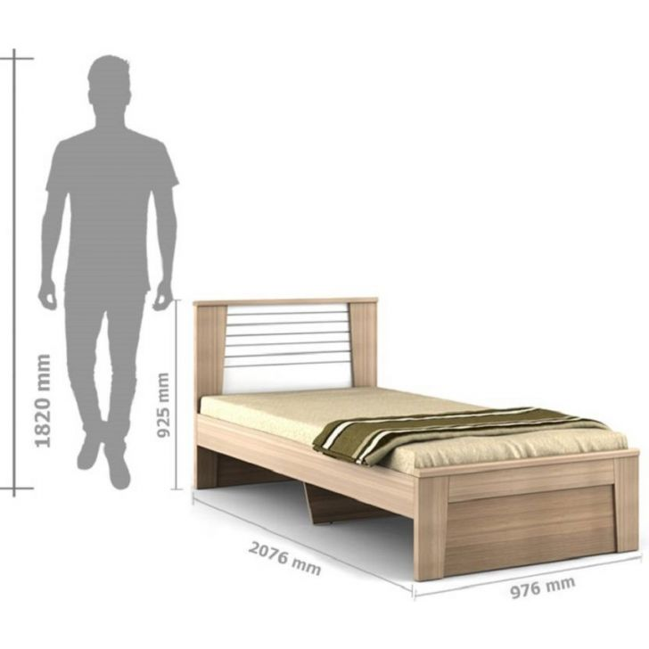 Ambra Single Bed Without Storage Teak,Single Size Beds