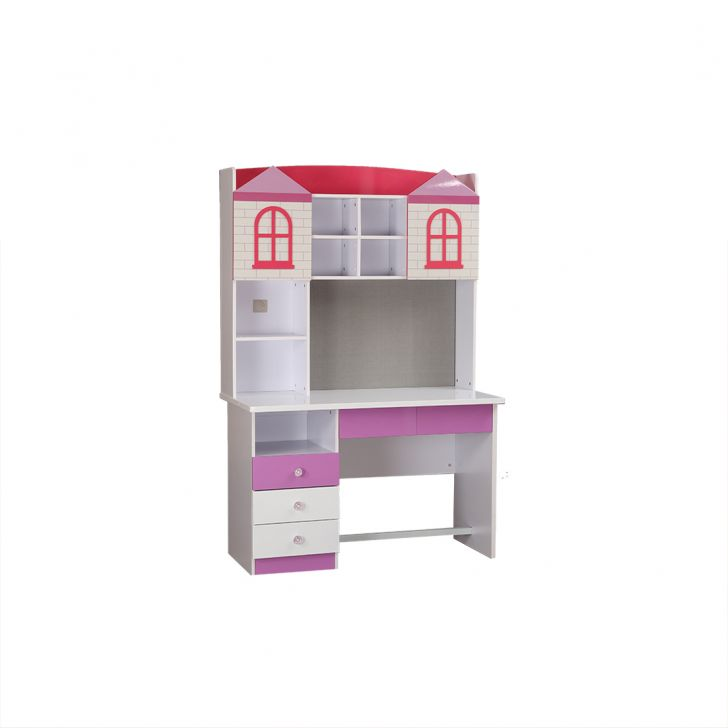 Castle Study Table in Glossy White & Pink Finish,Book Shelves