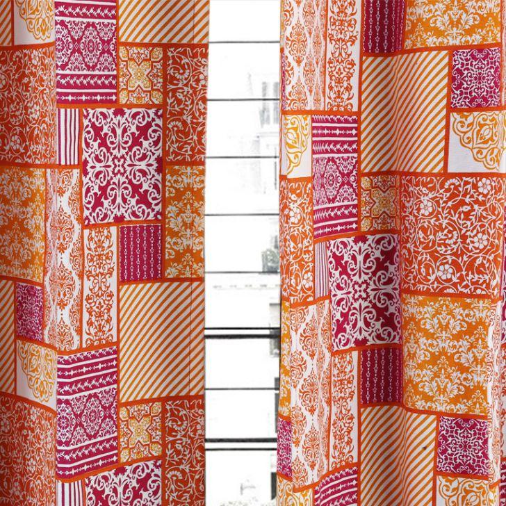 Living Essence Curtain Rio Patchwork Fuchsia,Curtains