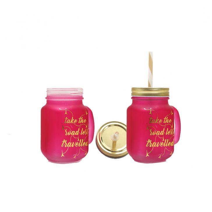 Love To Travel Golden Masonjars Set Of Two,Mason Jars