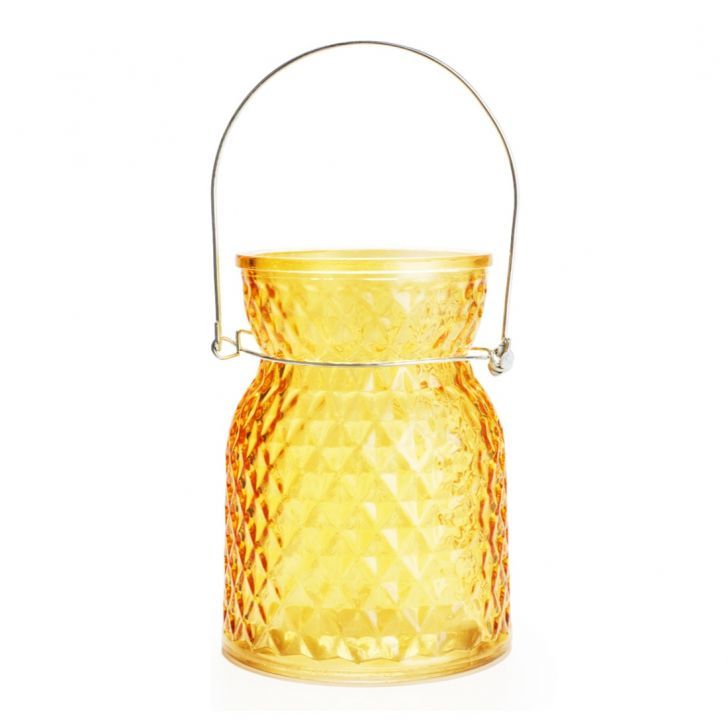 Ezra Faceted Vase With Handle  Mango,Glass Vases