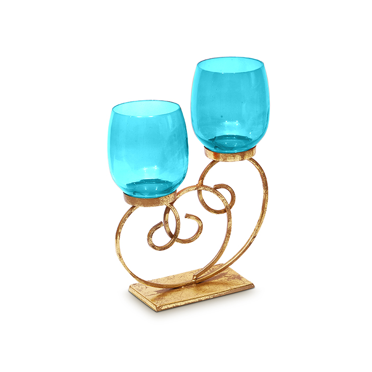 HomeTown Bling Scroll Iron And Glass 2 Votive Candle Holder Blue,Candle Holders