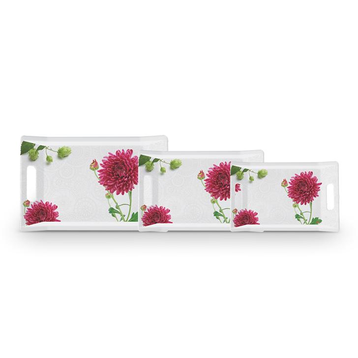 Servewell Red Blossom Trendy Tray Set 3 Pcs,Trays