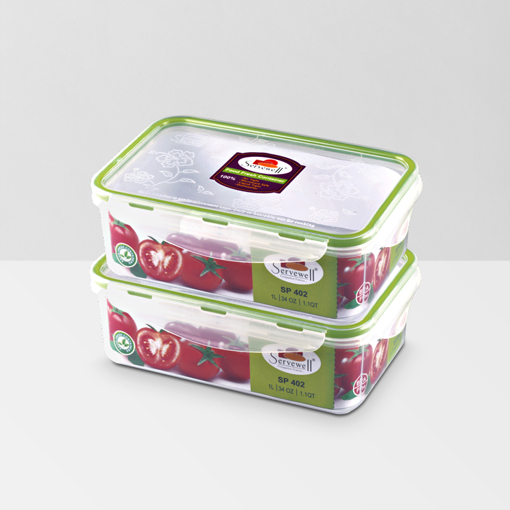 Servewell Rectangle Food Fresh Container 1 Ltr 2 Pcs,Lock Storage