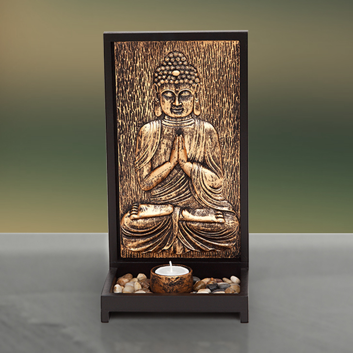 HomeTown Rustic Copper Sanctum Buddha With Tealight Holder,Figurines