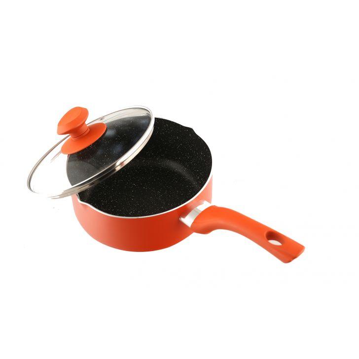 Granite Sauce Pan 18Cm With Lid Orange,Kitchenware