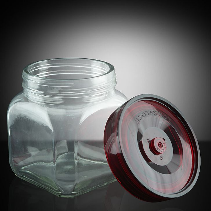 Lock & Lock Transparent & Red Breathing Canister,Containers