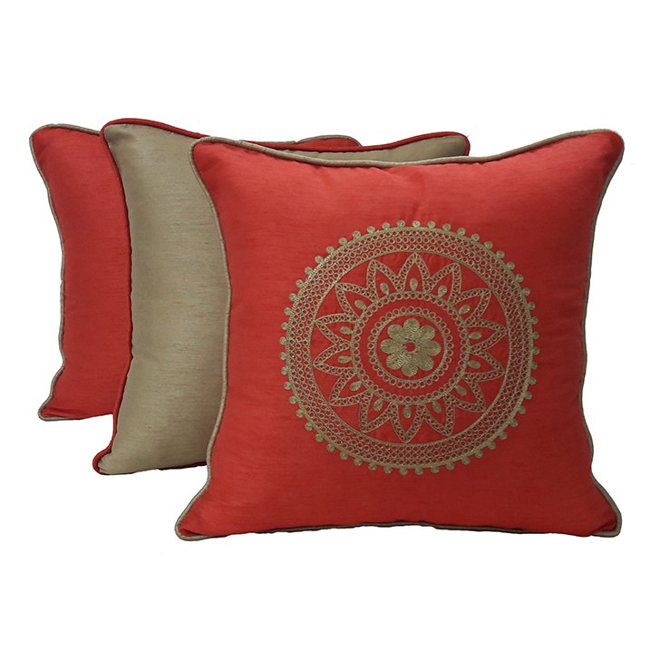 Living Essence Set Of Three Cushion Cover 16X16 Fiesta Coral Gold,Covers & Inserts