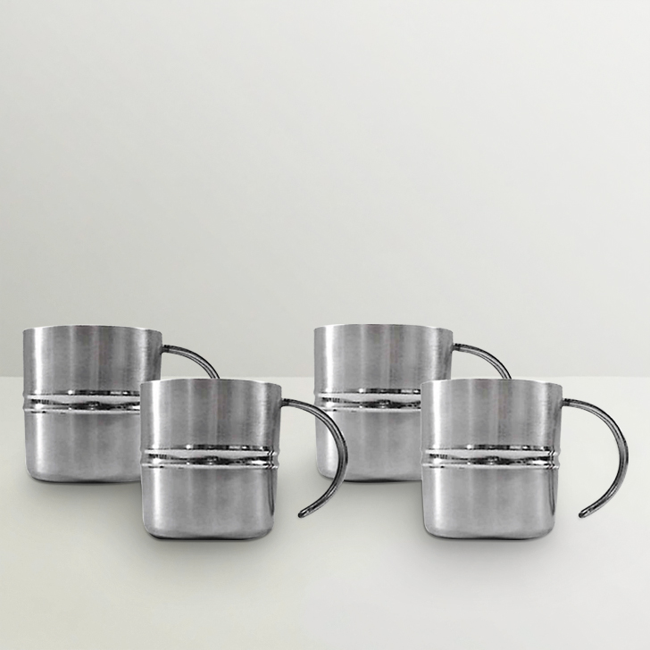 Hot Muggs Groovy  Stainless Steel Mugs, Set of 4, 200 ml,Mugs & Cups