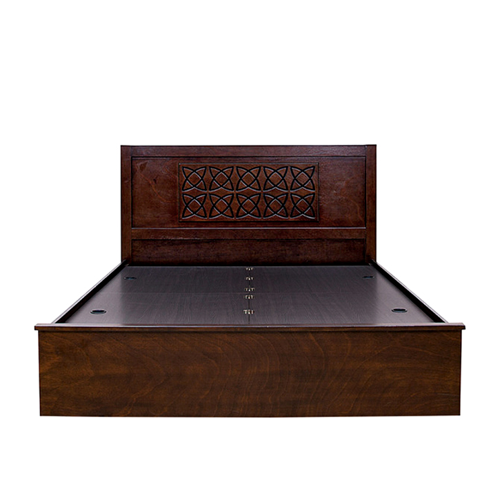 Buy astra king size bed in rubber wood with box storage for Wooden box bed image