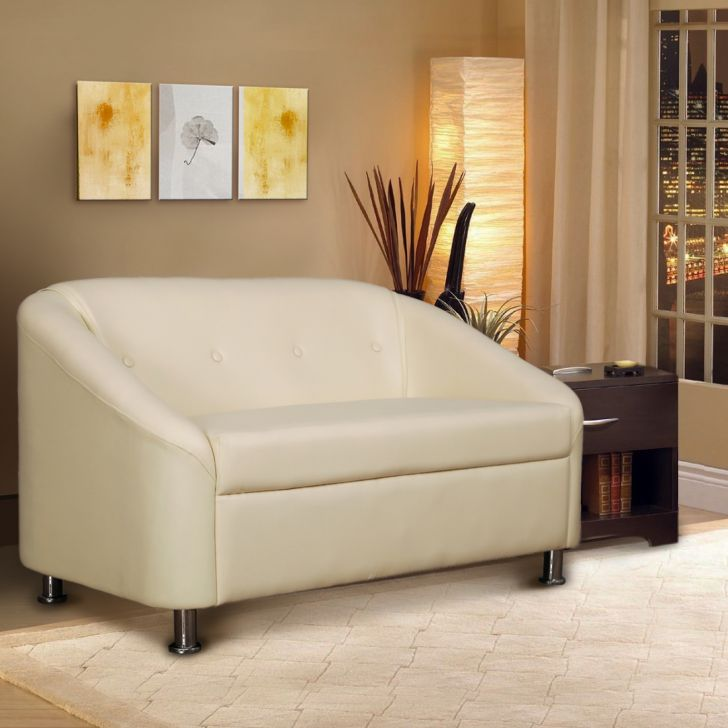 Belfast Leatherette Two Seater Sofa Ivory,The Big Summer Sale