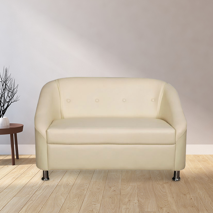 Belfast Leatherette Two Seater Sofa Ivory,Furniture
